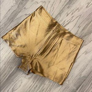 American Apparel Gold Disco Shorts